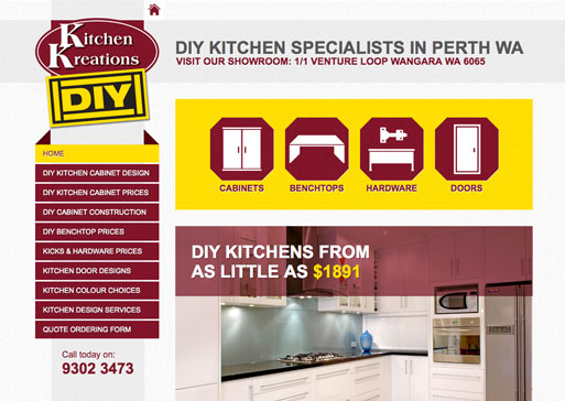 Kitchen Kreations DIY website design