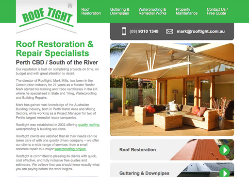 Rooftight website design