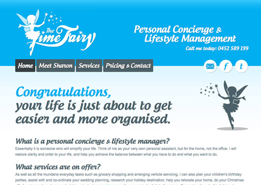 The Time Fairy website design